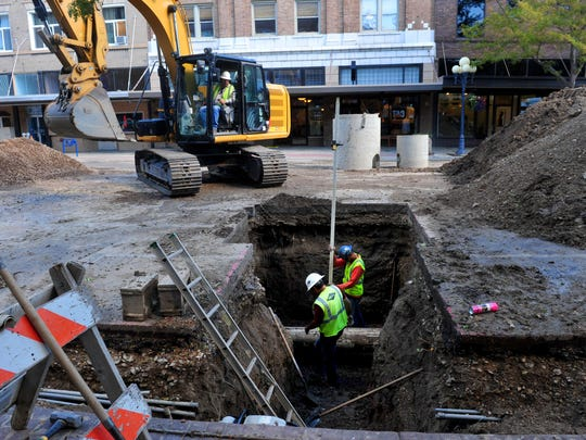 The 400 block of Central Avenue is closed to vehicle traffic while the city adds a new storm drain to help handle excess rain and snowmelt. The project was already underway when Tuesday's flash flooding hit downtown.