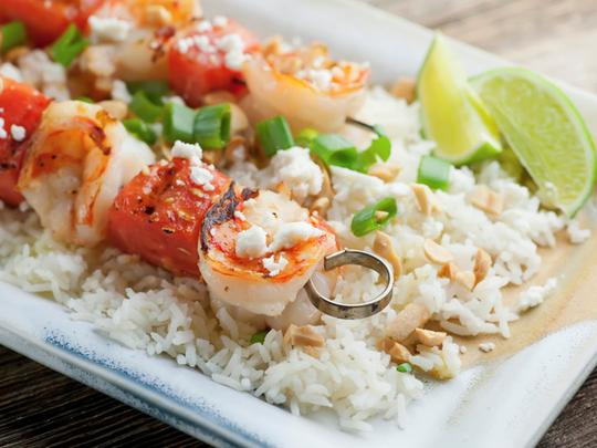 Shrimp and watermelon kebab