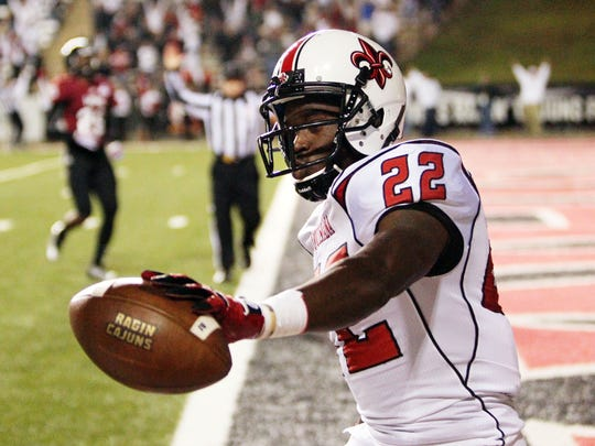 UL running back Elijah McGuire after scoring one of