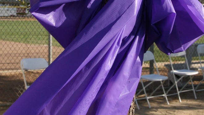 A purple ribbon is a signifier of the Relay For Life in Salinas.