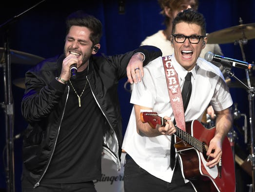 Thomas Rhett performs with Bobby Bones at the Bobby