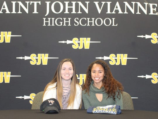 St. John Vianney announced its 2018 signing day girls soccer class. Pictured from left to right. Riley Schykernec and Camaren Cox