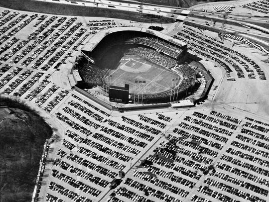 Milwaukee County Stadium is shown from the air on April