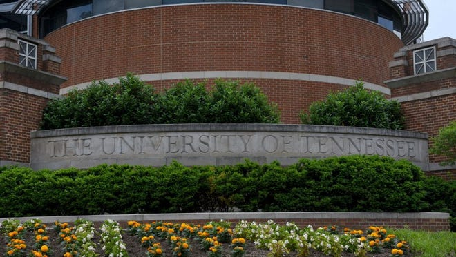 The entrance to the University of Tennessee campus at Cumberland Avenue and 11th Street.