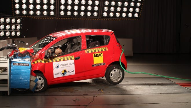 A crash test of a version of the Chevy Spark sold in Mexico conducted by the New Car Assessment Programme for Latin America and the Caribbean, which rates vehicle on safety.  The vehicle was sold in Mexico with out airbags. Mexico has lax vehicle safety regulations compared with the U.S. and Europe.