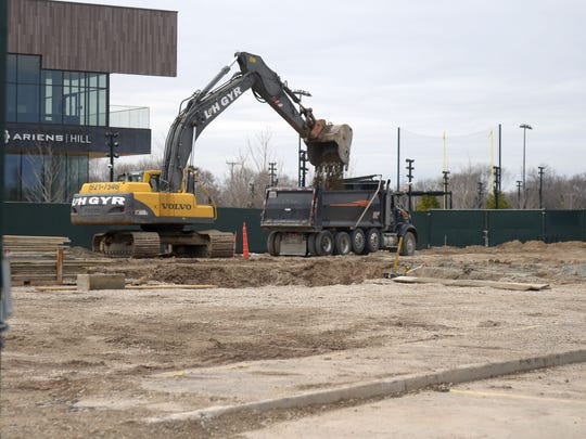 Excavation is under way on the TitletownTech building site in the Green Bay Packers' Titletown District on May 3, 2018.