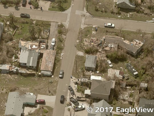 Aerial photo of Houston neighborhood shows damage to