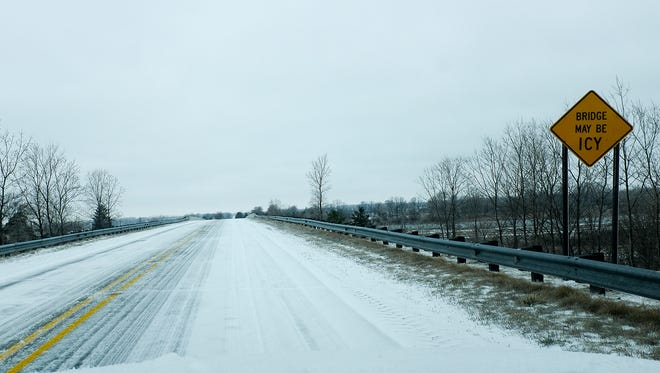 Come Tuesday night, Lansing-area roads could look a little like this image of U.S. 127 in Clinton County, taken on April 15, 2018. Temperatures expected to plummet on Tuesday.