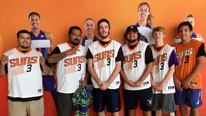 Six Suns fans (left to right: Jonathan Tanori, Gilbert Tanori Jr., Jack Girardin, Geovany Piña, Jordan Petersen and Adam Ramirez) showed up six hours early for a Jared Dudley jersey giveaway Friday.
