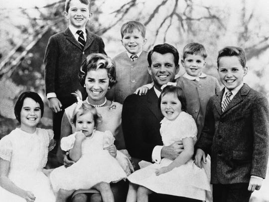Attorney General Robert Kennedy and wife Ethel pose with their seven children on Feb. 10, 1963. The boys, from left, are Robert Jr., 8, David, 7; Michael, 4; and Joe, 10. The girls, from left, are Kathleen, 11; Kerry, 3; and Mary Courtney, 6.