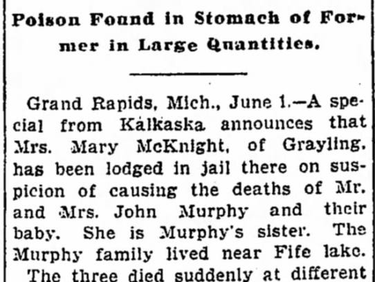 1903 Detroit Free Press clipping on the Mary McKnight