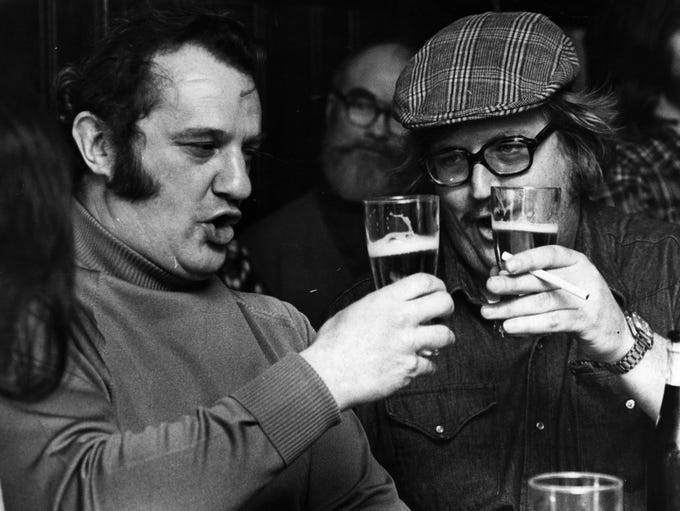 MARCH 1976: At Hap's Irish Bar in Hyde Park are, left
