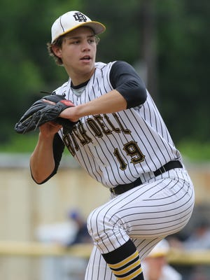 River Dell pitcher Aidan Tucker, shown in a file photo, threw a complete-game four-hitter in Saturday's 4-1 win over NV/Old Tappan at the Park Ridge Coaches vs. Cancer benefit tournament.