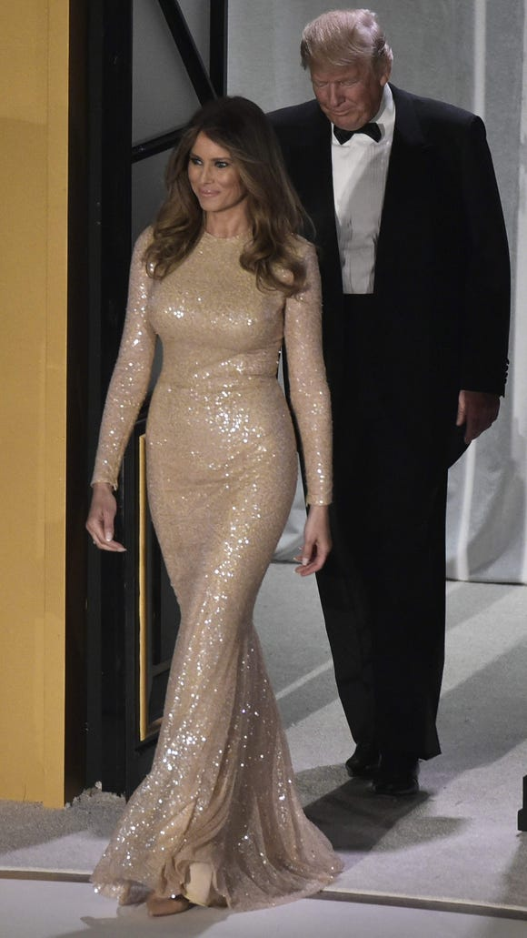 The future first lady donned gold the night before