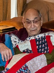 "Samuel ""Sam"" Cornacchio, of Elmira, served in the U.S. Army during WWII. He was awarded a Quilt of Valor."