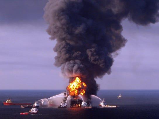 US Coast Guard crews battle the remnants of the BP
