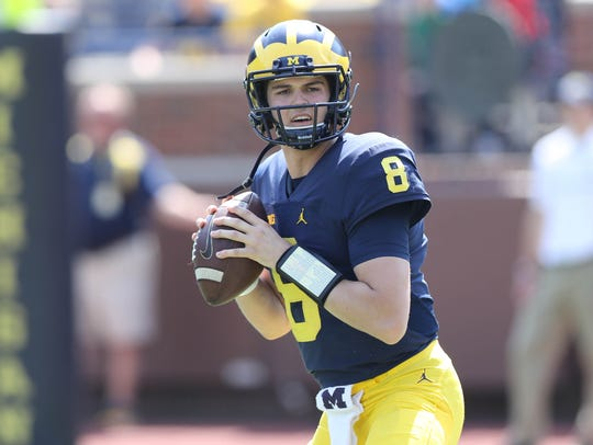 Michigan quarterback John O'Korn in the spring game