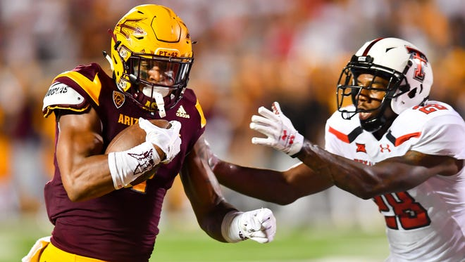 ASU's N'Keal Harry runs after a catch against Texas Tech on Sept. 16, 2017 at Jones AT&T Stadium in Lubbock, Texas.