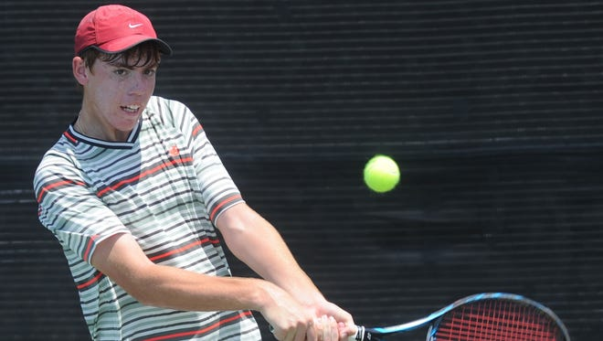 San Antonio's Trey Hilderbrand returns a shot in his Boys' 18 singles match against doubles partner Campbell Erwin. Hilderbrand won the match 6-2, 6-1 Wednesday at Hardin-Simmons' Streich Tennis Center. Hilderbrand, the No. 1 seed, advances to the quarterfinals with the victory.