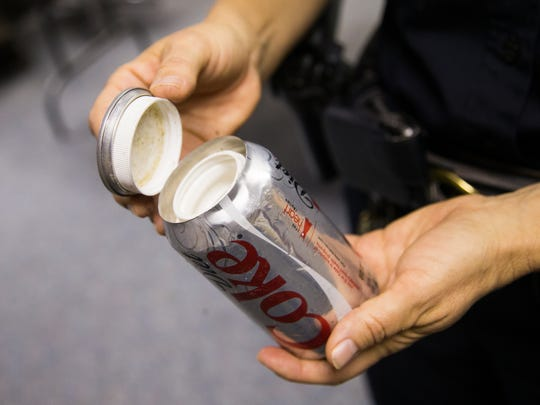 Drugs were found in this modified Coke can coming from Mexico at the Dennis DeConcini Port of Entry in Nogales, Ariz. April 21, 2014. Heroin has been coming over the U.S.-Mexico border in record ammounts.