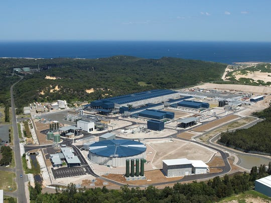 The Sydney desalination plant in Sydney, Australia. The plant is designed to provide 500 million litres of drinking water per day in the case of a drought or drop in dam levels.