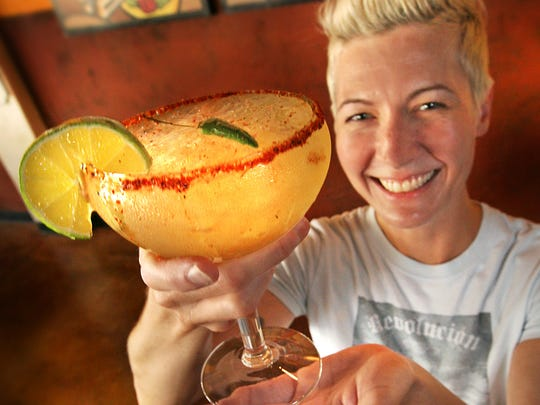 The spicy margarita with the special chili rim at Revolucion,