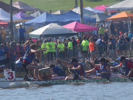 Teams race in the annual Louisiana Dragon Boat Races, the event that jump started Alexandria's River Fête.