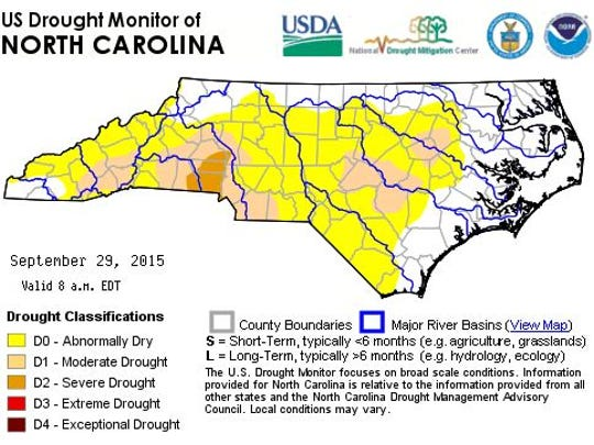 Four counties are classified under severe drought.