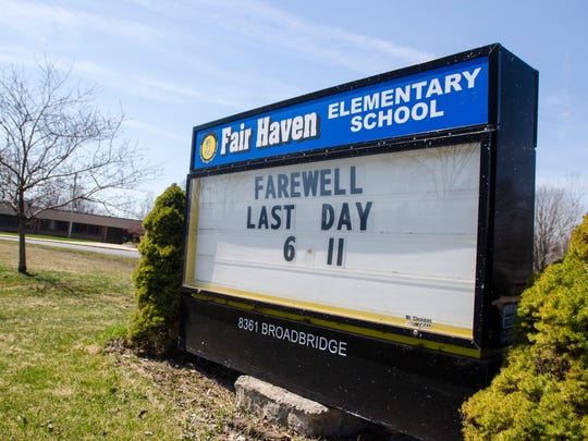 The shuttered Fair Haven Elementary School Monday, April 18, in Ira Township.