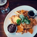 The chicken and waffles at Mainline, where mothers will receive one free brunch entree on Sunday.