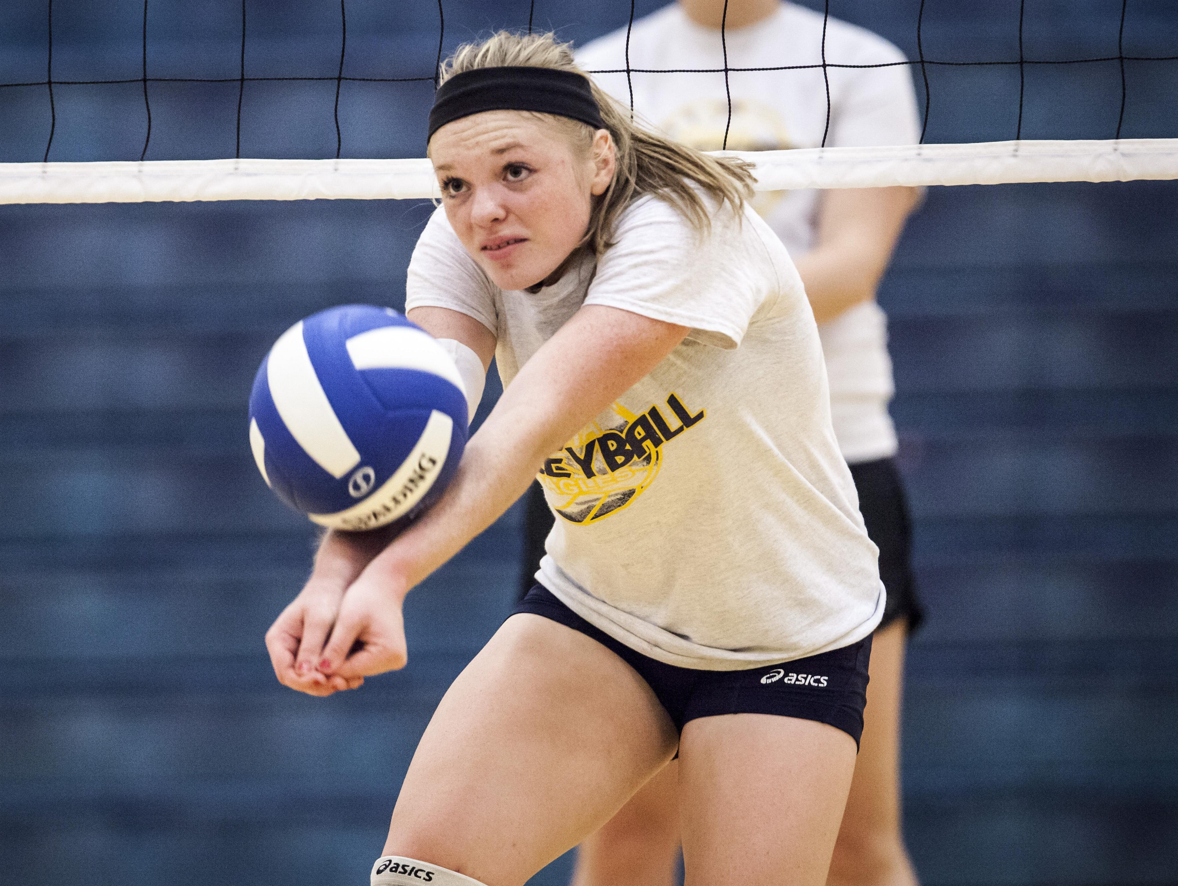 Chloe Stitt, who transferred from Madison-Grant, practices with Delta on Tuesday. Stitt sat out a season, but has emerged as the Eagles' leader in kills.