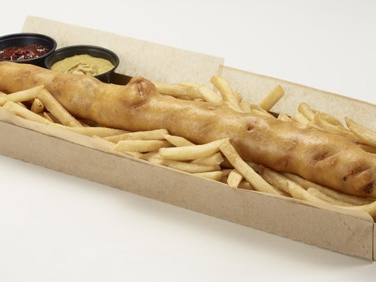 The D-Bat Dog is an 18-inch, fried corn dog with cheddar