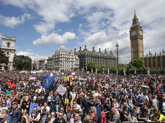 """""""Remain"""" supporters demonstrate in Parliament Square, London, to show their support for the European Union in the wake of the referendum decision for Britain to leave the EU, known as """"Brexit,"""" on July 2."""