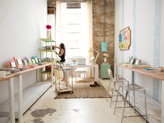 New Orleans-based Alyse studio owner Alyse Rodriguez makes artistic wooden picture frames and rustic home decor in her studio.