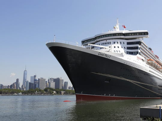 The cruise liner Queen Mary 2 is seen docked at the Brooklyn Cruise Terminal in New York.
