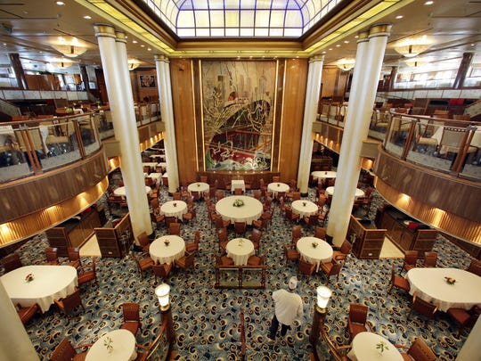 This is the Britannia Restaurant aboard the cruise liner Queen Mary 2. The ship was relaunched earlier this summer after $132 million in renovations.