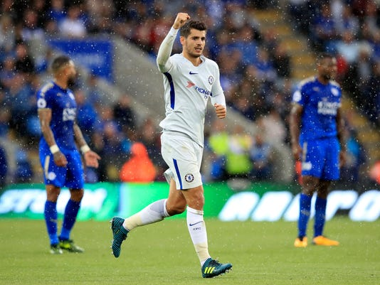 Chelsea's Alvaro Morata celebrates scoring against Leicester City during the English Premier League soccer match at the King Power Stadium, Leicester, England, Saturday Sept. 9, 2017. (Mike Egerton/PA  via AP)