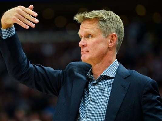 Golden State Warriors head coach Steve Kerr looks on in the first half of an NBA basketball game against the Utah Jazz Tuesday, April 10, 2018, in Salt Lake City. (AP Photo/Alex Goodlett)