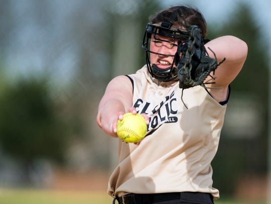Delone Catholic's Maggie Rickrode delivers a pitch
