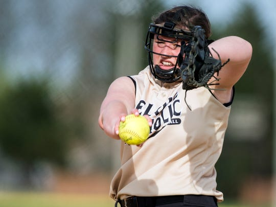 Delone Catholic's Maggie Rickrode delivers a pitch to a York Catholic batter, Wednesday, May 2, 2018. The Delone Catholic Squirettes shutout the York Catholic Irish, 9-0.
