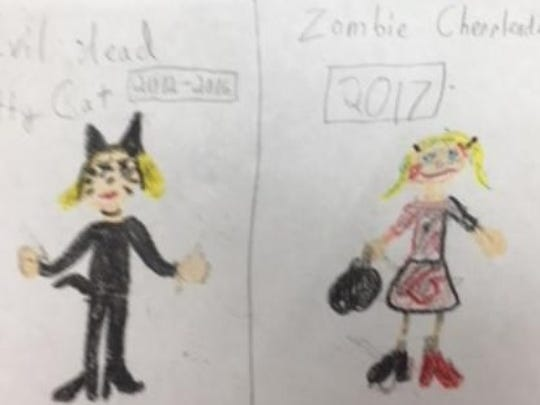 Halloween is my favorite time of the fall. This year I am going to be a zombie cheerleader for Halloween. For the last few years I have been an evil kitty cat. I wanted to do something different. I want to scare my brother because he is always playing tricks on me. I will get him this time.  Maggie Goedde, grade 3 St. Benedict Cathedral School