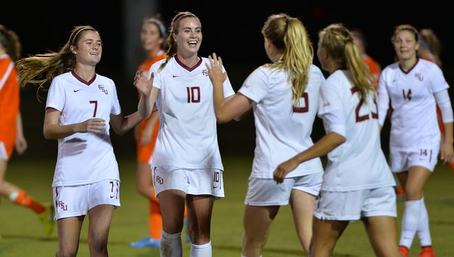 Florida State celebrates after scoring a goal in their 3-0 win over Evansville.