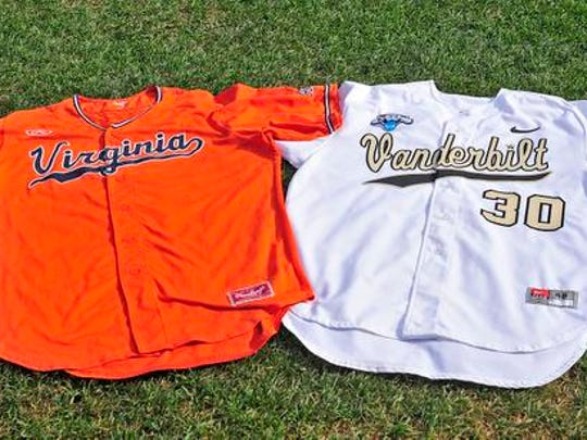 Vanderbilt and Virginia jerseys sit on the field prior to the last game of the College World Series between Vanderbilt and Virginia at TD Ameritrade Park, Wednesday, June 24, 2015, in Omaha, Neb.