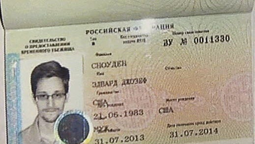 Temporary document allowing Edward Snowden to enter Russia.