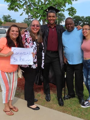 Nathaniel Jones, who plans to pursue a business degree at Sussex County Community College,  is pictured with his family. From left: Lisa Figueroa, Katherine Candelario, Nathaniel Jones, Stephen Jones, Leilani Candelario.