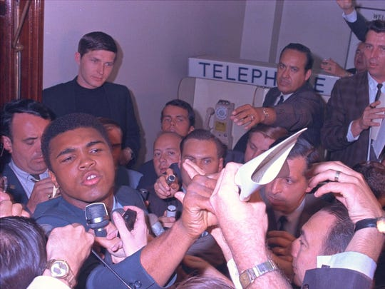 Muhammad Ali is pictured at the induction center in Houston on April 28, 1967.