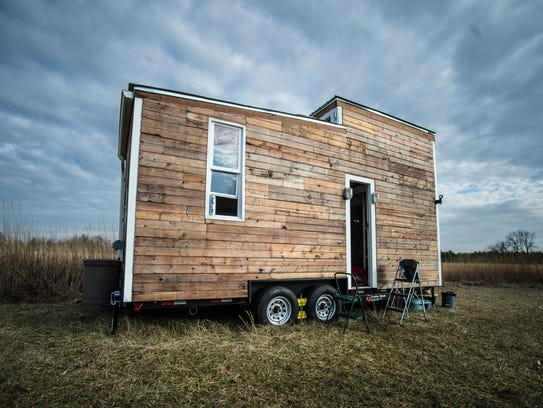 A tiny house built by two Earlham College students