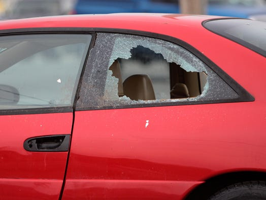 This car had its window smashed at a business on North Glenstone.