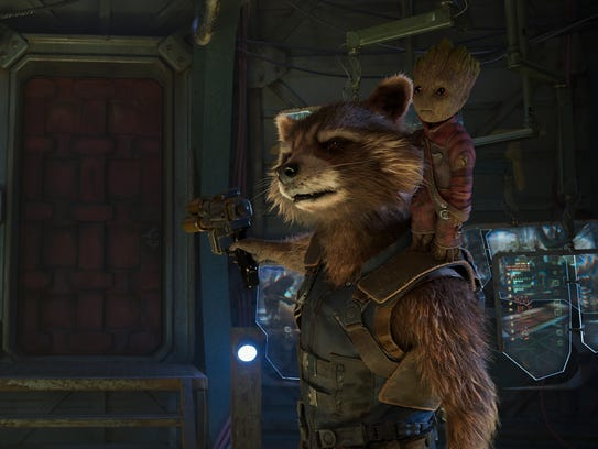 Rocket (voiced by Bradley Cooper) and Groot (Vin Diesel)