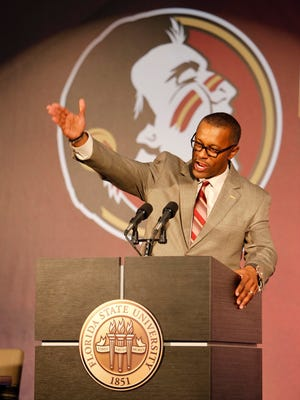 Florida State Seminoles new head football coach Willie Taggart speaks to the media at Doak Campbell Stadium. Mandatory Credit: Glenn Beil-USA TODAY Sports